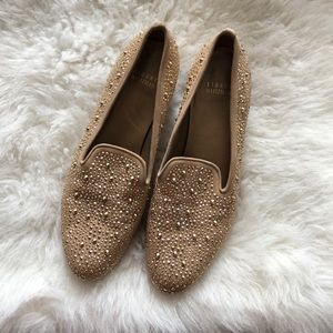 NEW Stuart Weitzman gold studded loafers flats 8